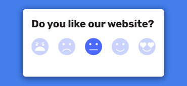 emoji feedback widget blue background